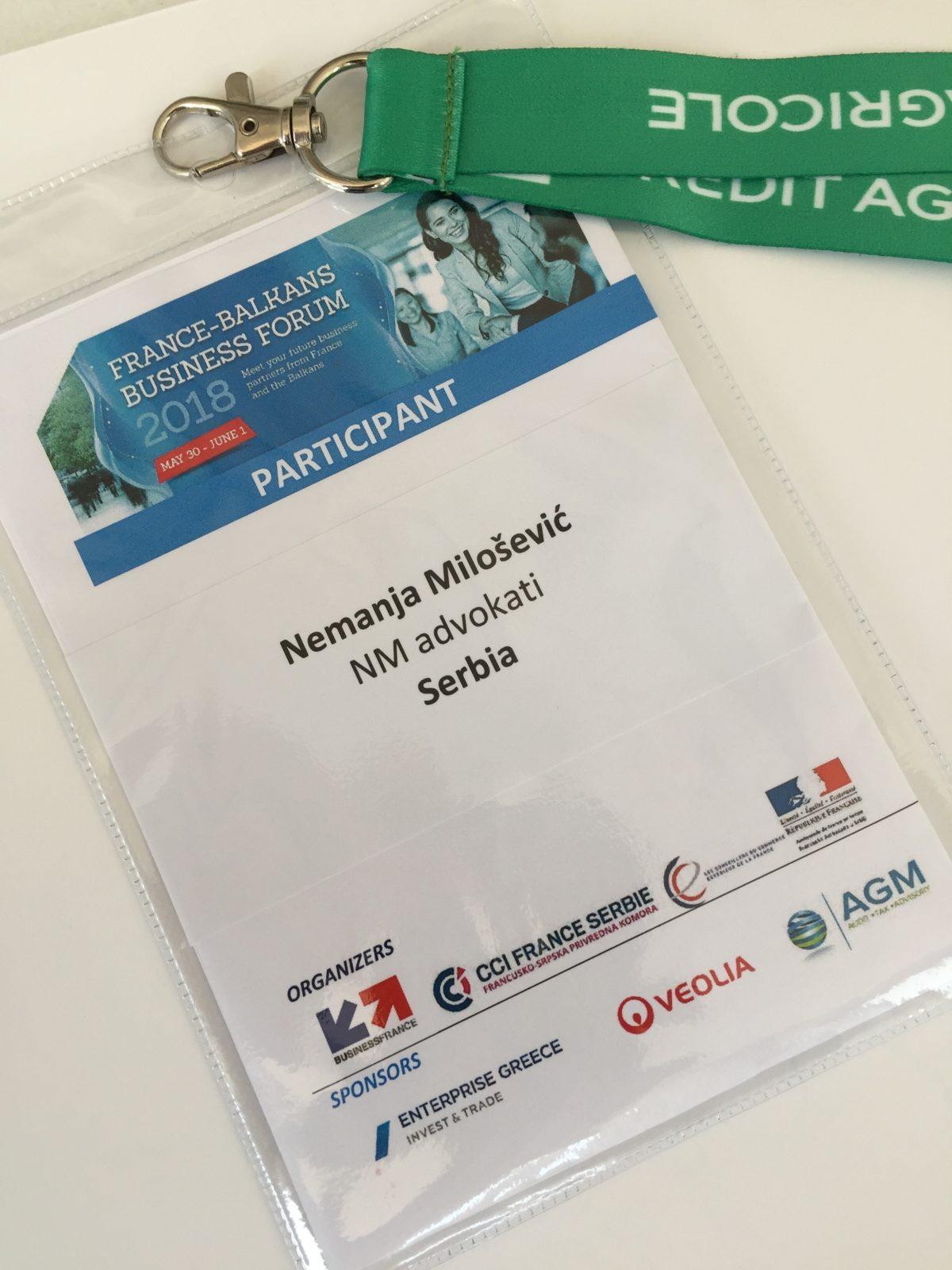 "NM Advokati na ,,France-Balkans"" business forumu 2018."